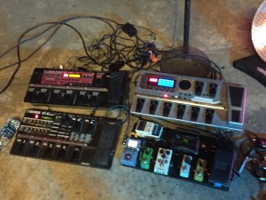 Dave's Pedal Array! Shot at Al Weber's LUMBERYARD Recording Studio